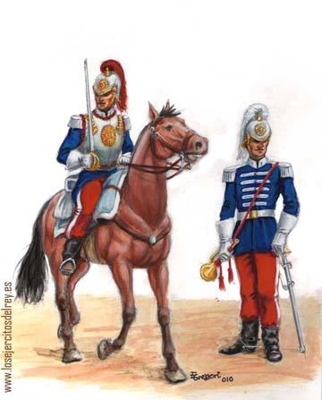 Regimientos de Coraceros en 1860