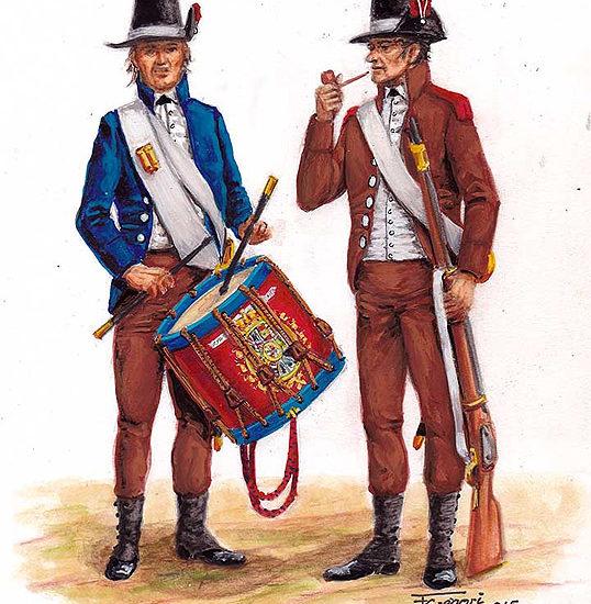 Los uniformes pardos de finales del siglo XVIII y principios del XIX.